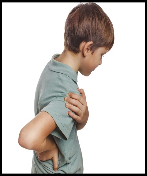 osteochondrosis teenage boy holds his hand behind his back back pain isolated on white background